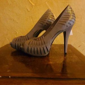 BCBG cut out peep toe heels